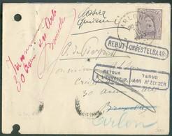 N°139 - 15 Centimes Obl. Sc ARLON Sur Env. Du 10-IV-1920 Vers Bruxelles (biffé), Griffes RETOUR A L'ENVOYEUR Et REBUT, I - 1915-1920 Albert I.