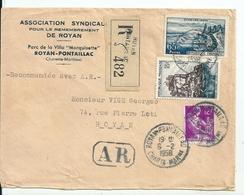 Lettre Recommandée Royan Avec Cachet AR , 1958 - Covers & Documents