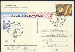 ANNULLO SPECIALE - CIVITANOVA MARCHE-09.06.1990 - GIORNATA DELLA FILATELIA - SELEZIONE REGIONI SU CARTOLINA - Giornata Del Francobollo