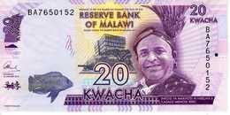 MALAWI - Reserve Bank Of Malawi -20 Kwacha 01-01-2016 - Série BA 7650152 - P-63[c] - UNC - Malawi