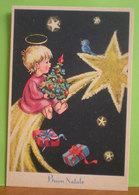 Auguri Buon Natale Bambina Bambini Stella Cometa CARTOLINA Non Viaggiata - Altri