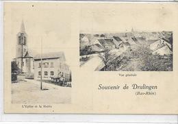 67 DRULINGEN . Souvenir En 2 Clichés , Village , Mairie Te L'église , édit : A Eschemann Phalsbourg ,écrite , état Extra - Drulingen