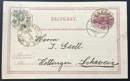 "Sweden ""ENKÖPING 1885"" > Hottingen, SCHWEIZ,  6 øre Postal Stationery Card +F29 (cover Brief UPU Schweden TPO Railroad - Schweden"
