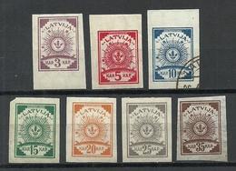 LATVIA Lettland 1919 = 6 Sun Design Stamps, Mint & Used - Lettland