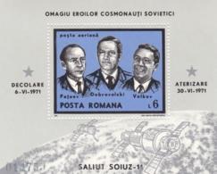 Rumänien, 1971, 2938/39 Block 85, MNH **,   Tod Der Kosmonauten Bei Der Rückkehr Von Sojus 11. - Blocs-feuillets