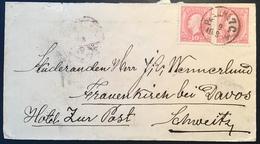 """Sweden """"PKXP 7C 1888"""" > Frauenkirch Bei Davos Hotel Zur Post (GR)  SCHWEIZ, F45 X2 (cover Brief Schweden TPO Railroad - Schweden"""