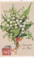 EMBOSSED  SOUVEIR DE MAI CARD.  LILY OF THE VALLEY - Holidays & Celebrations