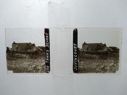Guerre 1914-18 - Tanks Devant Juvincourt - 1917 - Plaque De Verre StéréoscopiqueTBE - Diapositiva Su Vetro