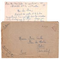 """1945 - LETTRE En FM Avec CROIX DE LORRAINE FRANCHISE MILITAIRE POSTÉE """" EN PLEINE MER OCÉAN INDIEN """" SP 70850 WW2 - Marcofilie (Brieven)"""