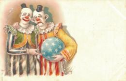 ILLUSTRATION DE ROICK CIRQUE CLOWN TRISTE ET CLOWN SOURIANT AVEC UN BALLON COUVERT D'ETOILES  PAS CIRCULEE - Autres Illustrateurs
