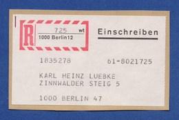 BERLIN R-Zettel Einschreiben Aufkleber - 1000 BERLIN 12 (19) - Berlin (West)