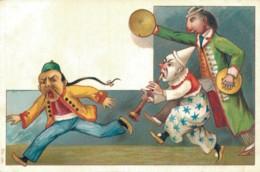 ILLUSTRATION DE ROICK CIRQUE CLOWNS MUSICIENS COURANT APRES UN CHINOIS  PAS CIRCULEE - 1900-1949