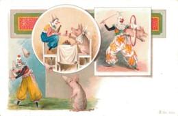 ILLUSTRATION DE ROICK CIRQUE CLOWNS COCHONS ATTRACTIONS  PAS CIRCULEE - 1900-1949