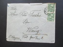 Österreich 1912 Nr. 142 MeF Wien - Wang Oberbayern. Rückseitig Klebezettel Überprüft Wien Und Reichsadler - Briefe U. Dokumente