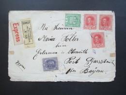 Österreich 1918 MiF Kaiserkrone / Kaiser Karl I Einschreiben Neunkirchen An Der Enknach / Express Brief Post Gass Am Inn - Briefe U. Dokumente