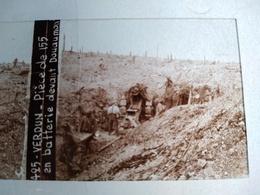 Guerre 1914-18 - Pièce De 155 En Batterie Devant Douaumont - - Plaque De Verre Stéréoscopique-TBE - Diapositiva Su Vetro