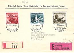 Liechtenstein 1946: Jagdserie I Zu 210-212 Mi 249-251 Yv 224-226 Auf R-FDC Mit ET-o VADUZ 10.XII.46 (Zumstein CHF 65.00) - FDC