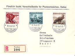 Liechtenstein 1947: Jagdserie II  Zu 213-215 Mi 253-255 Yv 228-230 Auf R-FDC Mit ET-o VADUZ 15.X.47 (Zumstein CHF 75.00) - FDC