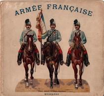 ALBUM DEPLIANT ARMEE FRANCAISE HUSSARDS CHROMO ENFANTINA VERS 1900 - Livres