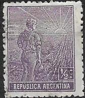 ARGENTINA 1911 Ploughman - 1/2 C - Violet FU - Used Stamps