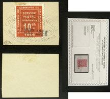 GUERRE N°1 10c Vermillon Oblit Sur Fragment Cote 525€ Signé Calves + Certificat - Guerras
