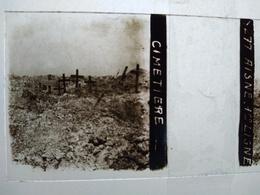 Guerre 1914-18 - Cimetière - Aisne - 1ere Ligne - Plaque De Verre StéréoscopiqueTBE - Diapositiva Su Vetro