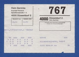 BRD Beleg Paketschein Hein Gericke Express-Versand 4000 DÜSSELDORF > BERLIN - BRD