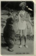 India, Native Juggler Juggling, Bear Tamer At Work (1920s) Postcard - India