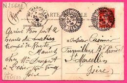 Cachet Perlé Notre Dame De L'Osier 1908 - Sur Cp N.D. De L'Osier - Façade Du Sanctuaire - Animée - Edit. MARIE DETROYAT - Marcofilie (Brieven)