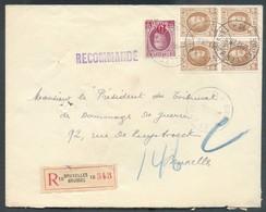 Lettre Recommandée HOUYOUX à 2Fr10 (dt Bloc De 4 Du 50c.), Obl. Sc BRUXELLES 10 Le 20-12-28 Vers La Ville - 14276 - 1922-1927 Houyoux