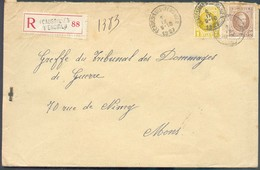 Lettre Recommandée HOUYOUX à 1Fr50 Obl. Sc ECAUSSINES D'ENGHIEN Le I-X-27 Vers Mons - 14277 - 1922-1927 Houyoux