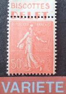 """R1934/187 - 1926 - SEMEUSE FOND LIGNE - N°199 NEUF** BdF Avec Publicité """" Biscottes DELFT """" VARIETE ➤➤➤ Piquage à Cheval - Abarten Und Kuriositäten"""