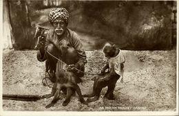 India, Native Juggler Juggling, Monkey Trainer (1930s) RPPC Postcard - India