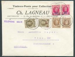 Lettre Recommandée HOUYOUX à 1Fr75 Obl. Sc BRUXELLES (MIDI) Le 25-XI-27 Vers Wien (en-tête Ch. LAGNEAU Timbres-poste) - - 1922-1927 Houyoux