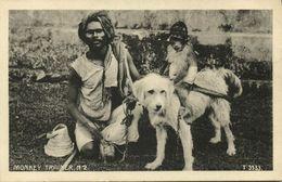 India, Native Juggler Juggling, Monkey Trainer (1920s) Postcard - India