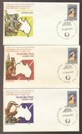 Set Of OVERPRINTED Philatelic Sales Australian Animals 1977 Souvenir Covers - Koala, Kangaroo, Kookaburra - FDC