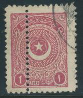 TÜRKEI 1924 Stern Und Halbmond Im Kreis, 1 Pia Rotbraunlila, Gest. Kab.-ABART - Gebraucht