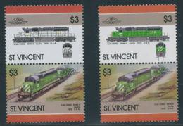 ST.VINCENT 1986 Lokomotiven $3 Postfr. ZD ABART: MISSING COLOUR - St.Vincent (1979-...)