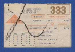 BRD Beleg Nachnahme - 3 Pagen Versand AACHEN > BERLIN 1981 - BRD