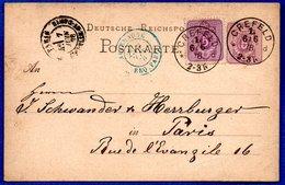 Allemagne  - Entier Postal Départ Créfeld - Pour Paris  -  6/6/1878 - Ganzsachen