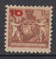 Liechtenstein 1924 Freimarken / Aushilfsausgabe 10Rp Auf 13Rp Z 9.5 ** Mnh (43316B) - Unused Stamps