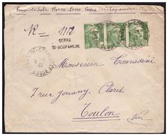 Gandon N° 719 En Bande De 3 Sur Lettre Rec. Provisoire De SERRA DI SCOPAMENE  (CORSE)pour TOULON Du 3.3.47. - Francia
