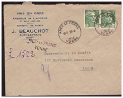 Gandon N° 719 En Paire Sur Lettre Rec. Provisoire De ANCY LE FRANC Pour PARIS Du 29.4.46. - France