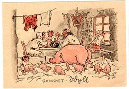 Ungelaufene Feldpostkarte Mit Antisowjetischer Karikatur - Occupation 1938-45