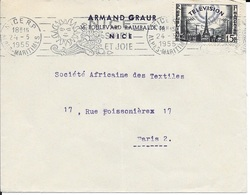 TIBRE  N° 1022 -   AU  TARIF 6 1 49 -  FLAMME NICE RP N° 168 R - NICE SOLEIL ET JOIE  -  1955 - SEUL SUR LETTRE - Poststempel (Briefe)