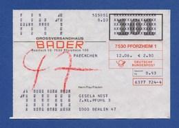 BRD Beleg Paeckchen - Großversandhaus BADER, PFORZHEIM - BRD