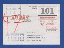 BRD Beleg Postgut - Großversandhaus BADER, PFORZHEIM - BRD
