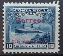 1911 COSTA RICA MH Telegraph Stamp Steamship Overprint - Costa Rica