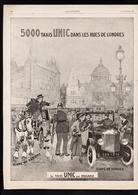 Pub Papier 1927 Automobiles UNIC Taxi Dans Les Rue De Londres Dessin Felix Jobbé Cheval Cochet Tacot Voiture Puteaux - Advertising