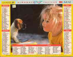 °° Calendrier Almanach La Poste 1997 Lavigne - Dépt 32 - Fillettes Avec Chien Et Chat - Calendriers